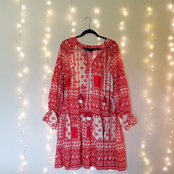 Eloquii Dresses & Skirts - Eloquii Gathered Long Sleeve Boho Dress